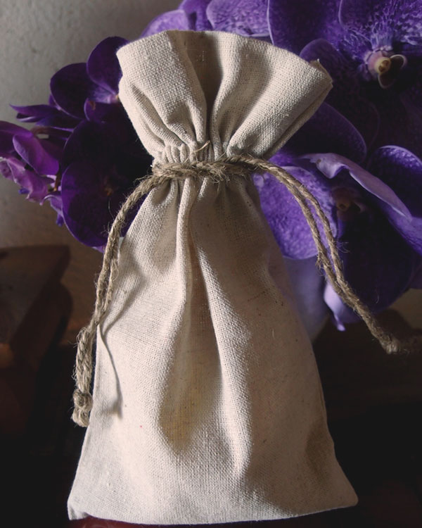 "Linen Bag w/ Jute Drawstring - 6"" x 10"" (Sold in a Dozen)"