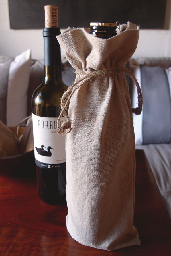 "Linen Wine Bag w/ Jute Drawstring - 6"" x 14"" (Sold in a Dozen)"