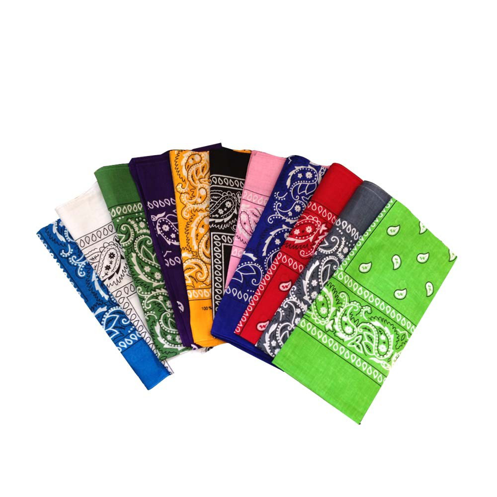 "100 % Cotton Bandana Assortment - 22"" x 22"" 12 Pack"