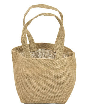 "Natural Jute Tote Bag - 4"" x 4"" x 4"""