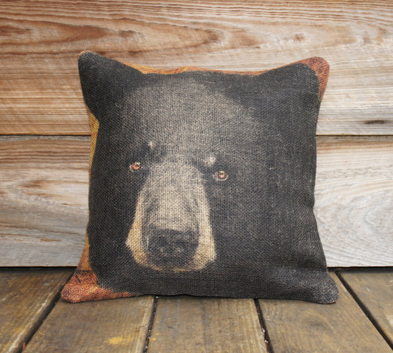 "Bear Burlap Pillow Case 18"" x 18"""