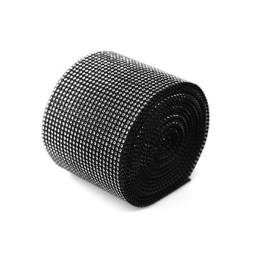 "Black/Silver Diamond Mesh Wrap - 4.5"" x 30 Feet"
