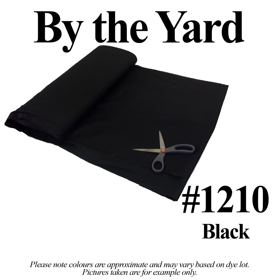 "45"" Black Broadcloth - By the Yard"