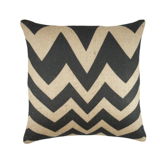 "18"" x 18"" Black Chevron Burlap Pillow Case"