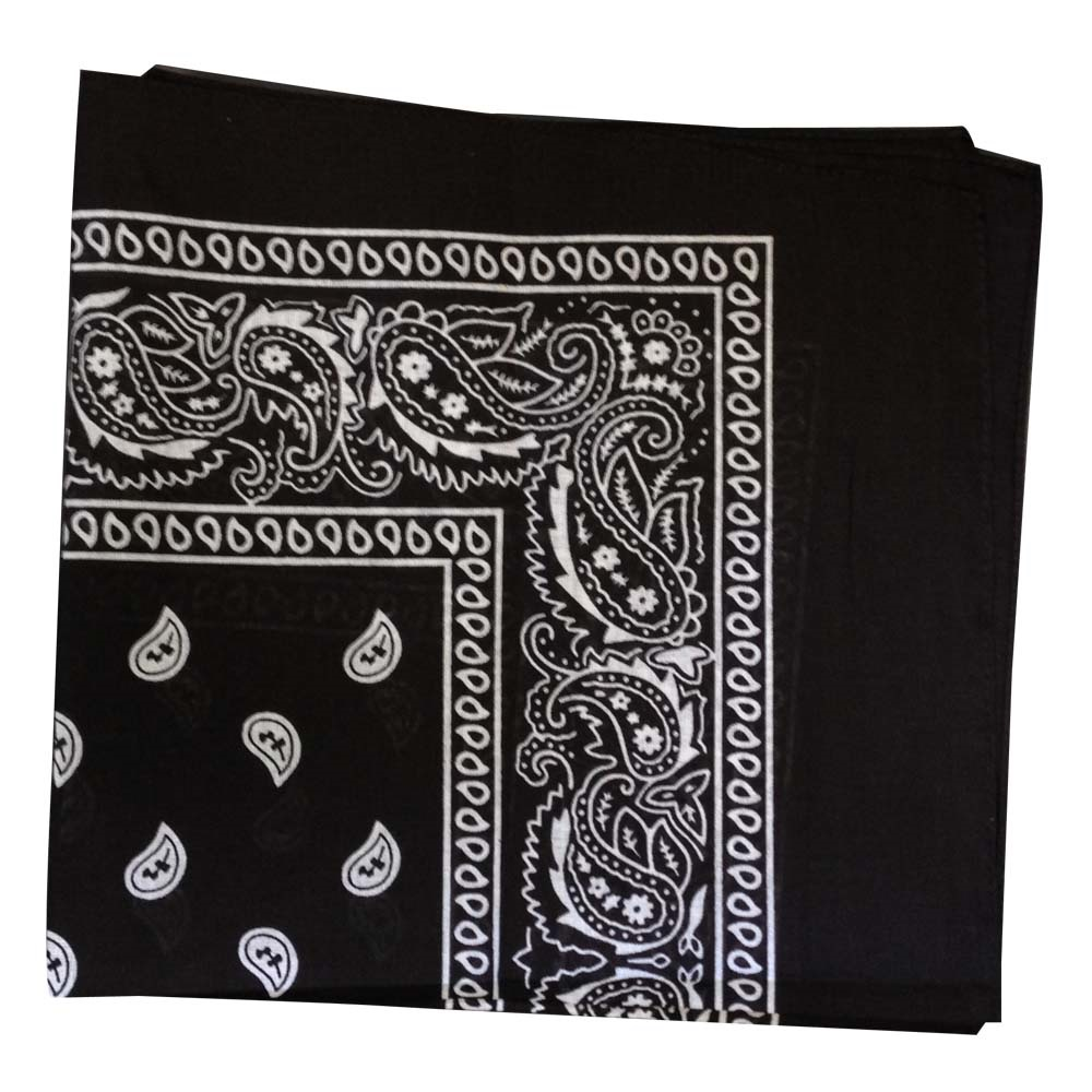 "Paisley Bandana (100% Cotton)- Black 22"" x 22"""