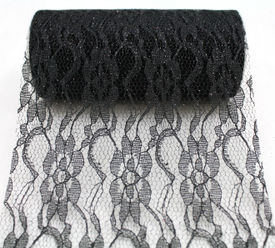 "6"" Black Sparkle Lace - 10 Yard Ribbon"