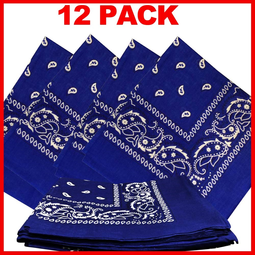 "Paisley Bandana (100% Cotton) - Blue 22"" x 22"" 12 Pack"
