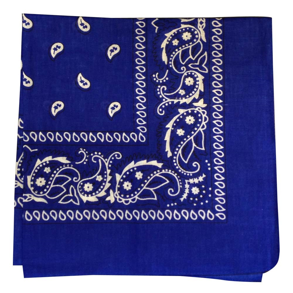 "Paisley Bandana (100% Cotton)- Blue 22"" x 22"""