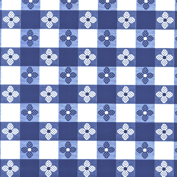 "Blue Tavern Check OilCloth (Without Felt Back) - 54"" x 40 Yard"