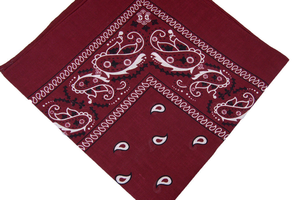 "Paisely Bandana (100% Cotton)- Burgundy 22 x 22"" 12 Pack"