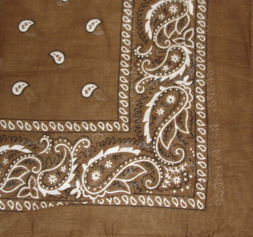 "Paisley Bandana (100% Cotton) -Brown 22"" x 22"" 12 Pack"