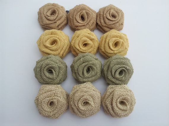 Color Combo Burlap Flowers (12 Pack)