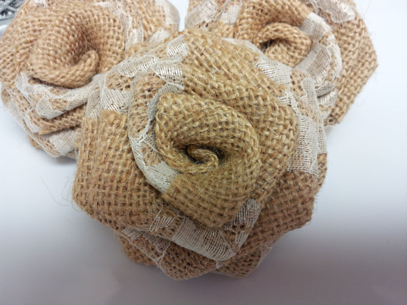 Ivory Lace Burlap Flowers (12 pack) - Click Image to Close