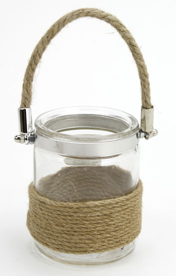 Jute Rope Handle 3.4x4 Burlap Glass Jar