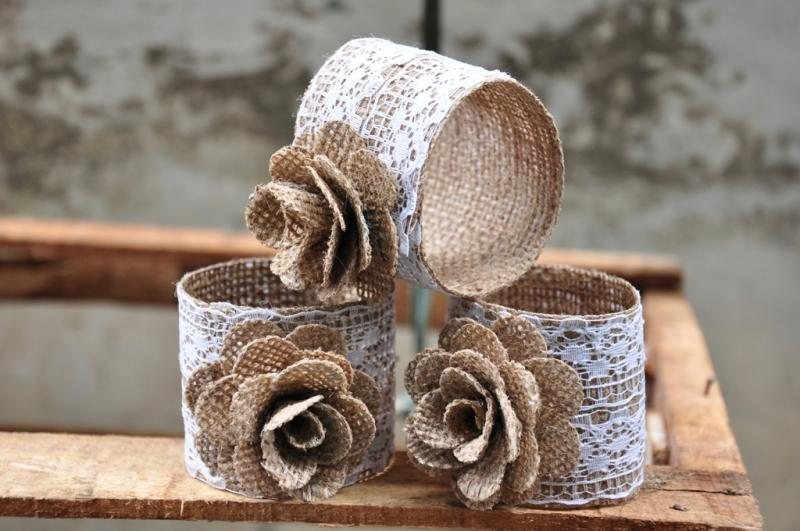 White Lace Burlap Napkin Rings (Sold in a 3 pack)