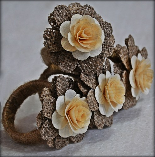 Wood Roses Burlap Napkin Rings (Sold in a 4 pack)