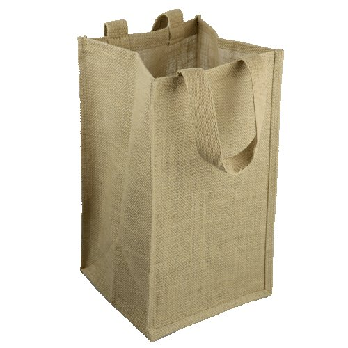 "Natural Jute Wine Bag with Dividers - 8"" x 8"" x 14"""