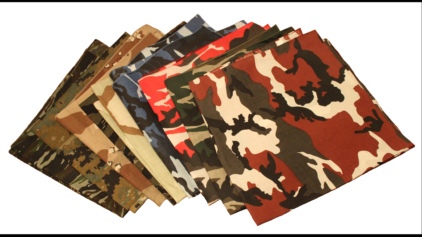 "USA Made Camo Bandanas 22"" x 22"""