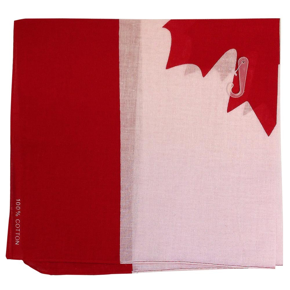 "100% Cotton Candian Flag Bandana - 22"" x 22"""