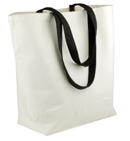 "18"" x 15"" x 5-3/4"" Canvas Tote Bag With Black Handles"