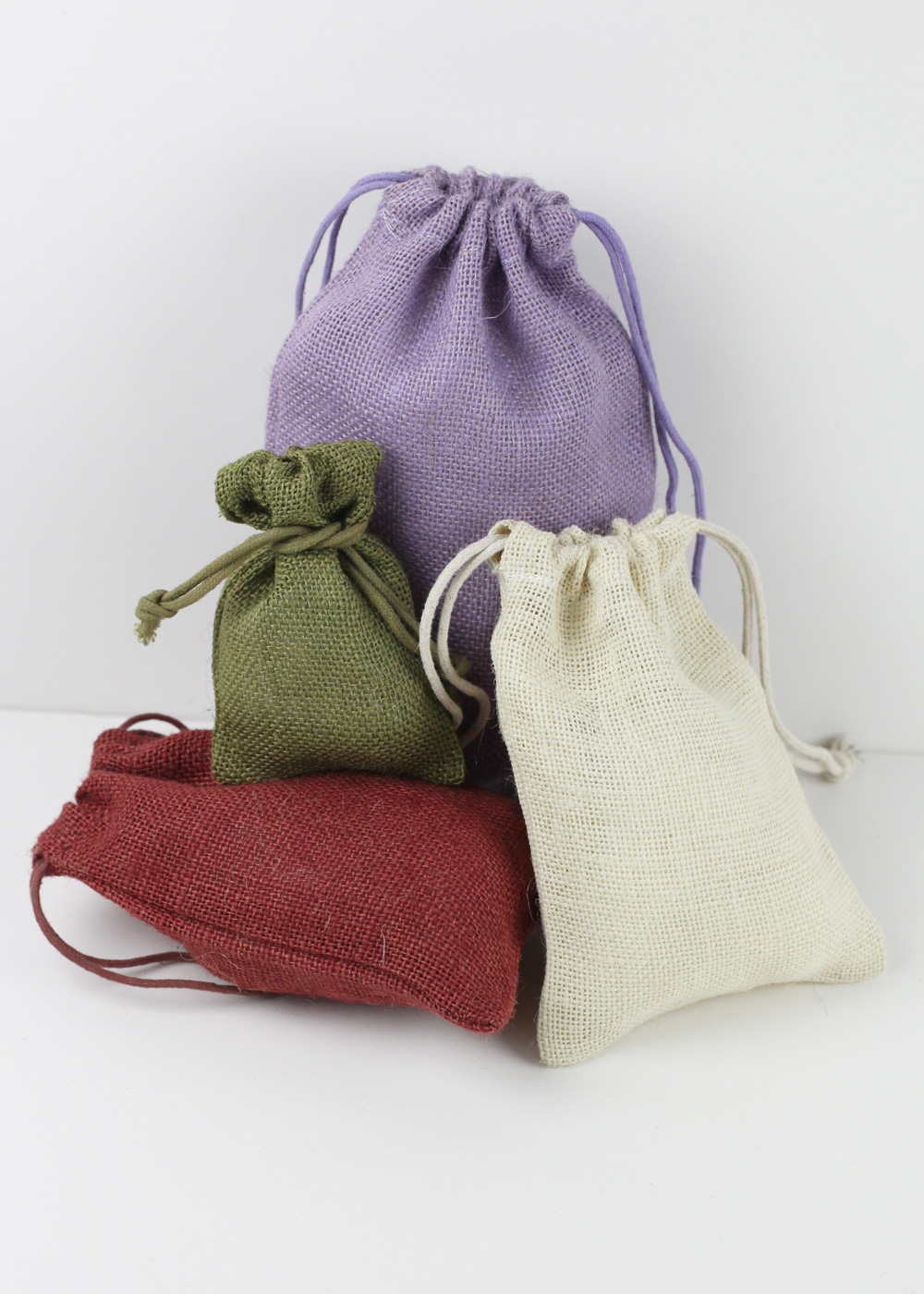 Colored Burlap Bags w/ Jute Cord