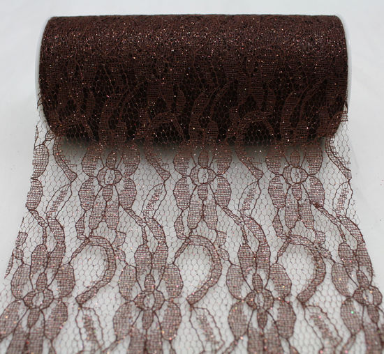 "6"" Chocolate Sparkle Lace - 10 Yard Ribbon"
