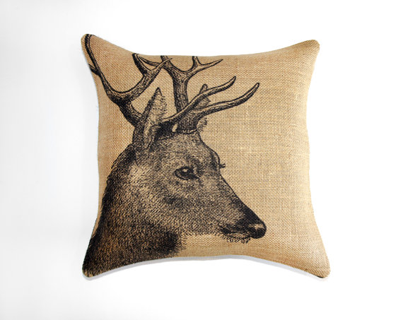 "18"" x 18"" Deer Burlap Pillow Case"