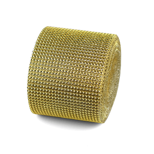 "Gold Diamond Mesh Wrap - 4.5"" x 30 Feet"