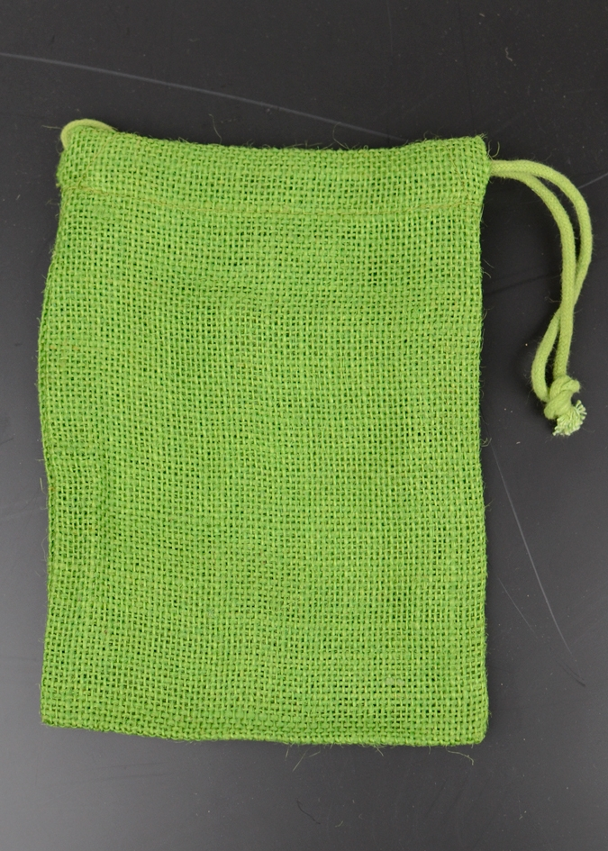 "Emerald Green Burlap Bag w/ Jute Drawstring - 3"" x 5"" (12 Pack)"