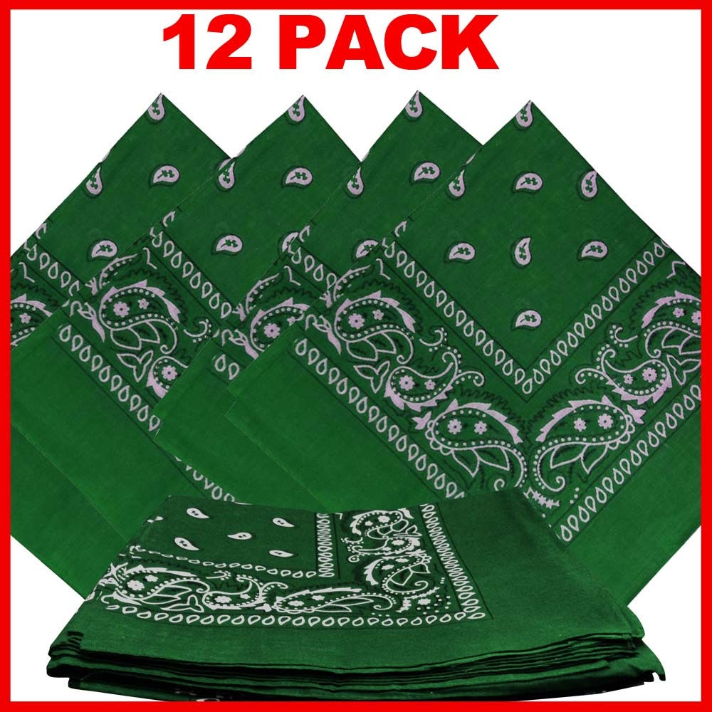 "Paisley Bandana (100% Cotton) -Green 22"" x 22"" 12 Pack"
