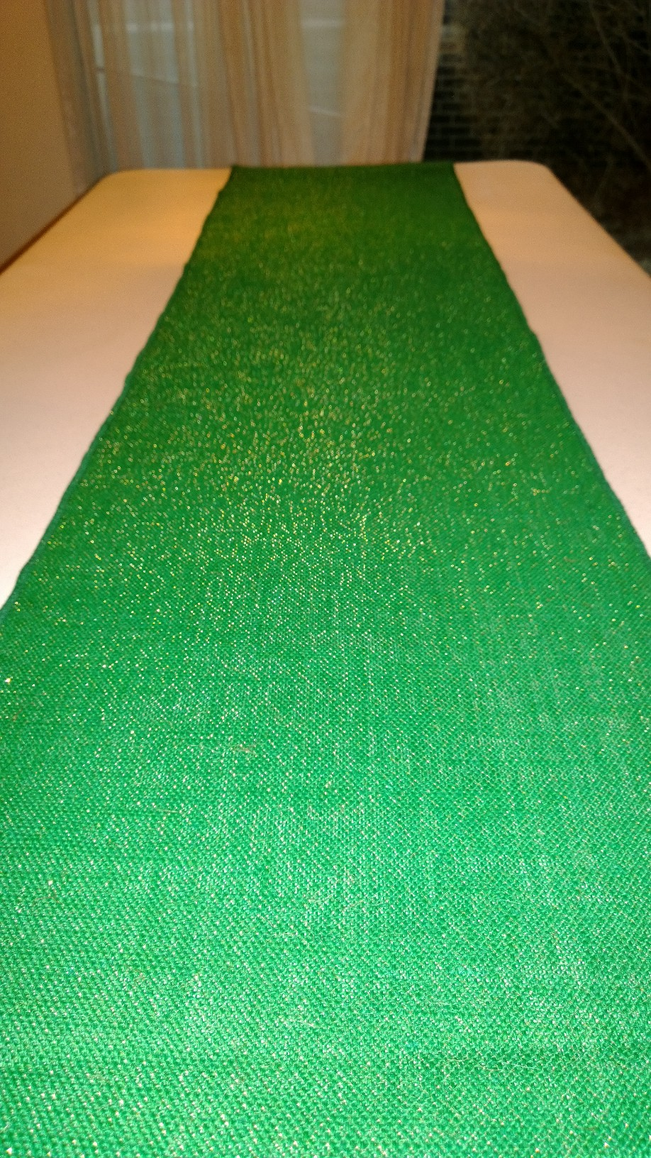 "Green Sparkle Burlap Table Runner - 14"" x 72"""