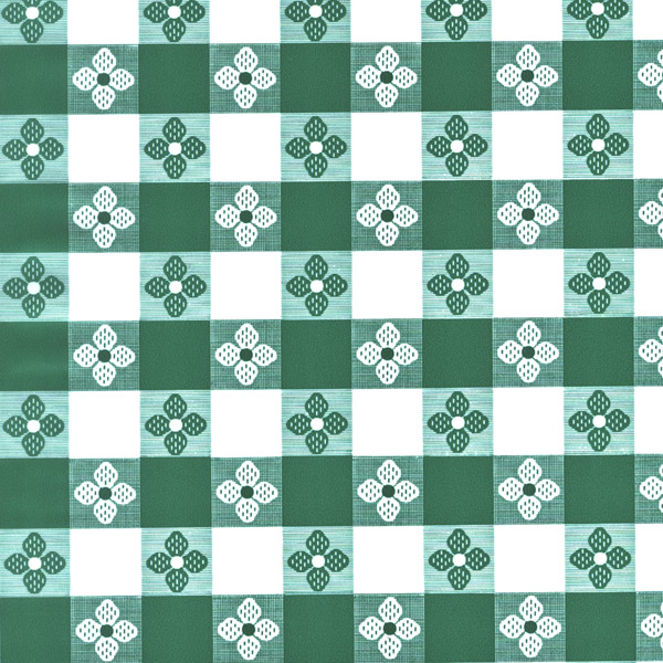 "Green Tavern Check OilCloth (Without Felt Back) - 54"" x 40 Yard"