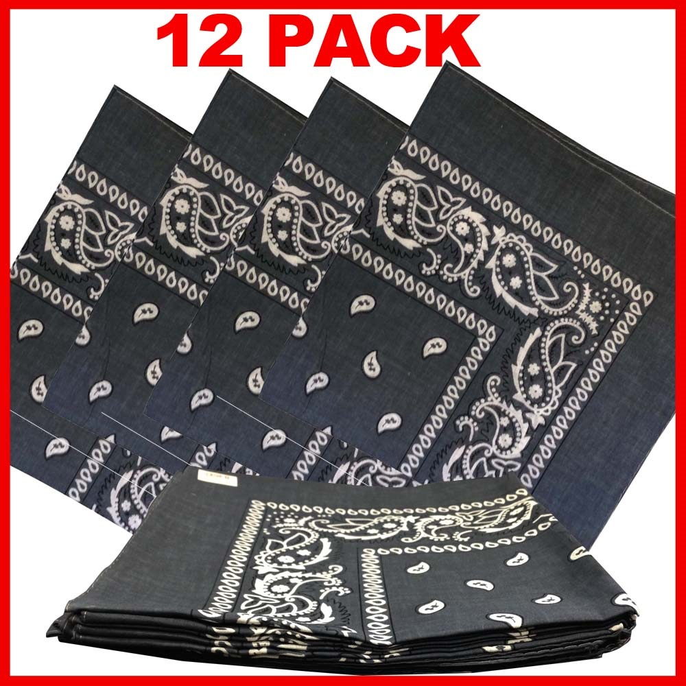"Paisley Bandana (100% Cotton) -Grey 22"" x 22"" 12 Pack"