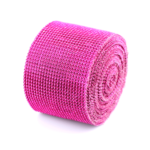 "Hot Pink Diamond Mesh Wrap - 4.5"" x 30 Feet"