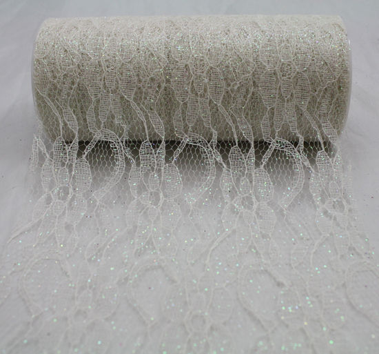 "6"" Ivory Sparkle Lace - 10 Yard Ribbon"