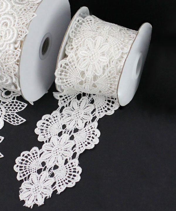 Floral Lace Ivory Ribbon - 2-3/4 x 5Yds
