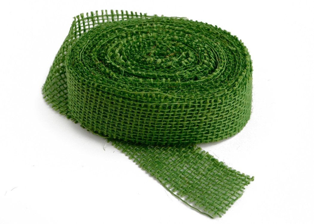 "Jungle Green Burlap Ribbon - 1.5"" x 10 Yards (Frayed Edges)"