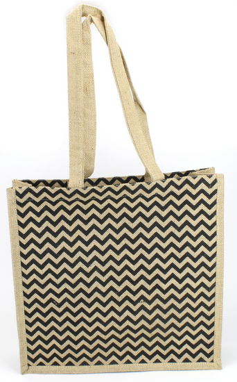"16"" x""5""x 16"" Chevron Jute Tote Bag (Natural/Black)"