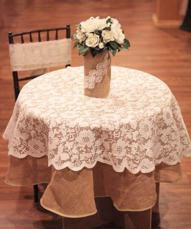 "Floral Lace Overlay (Ivory) 60"" Diameter"