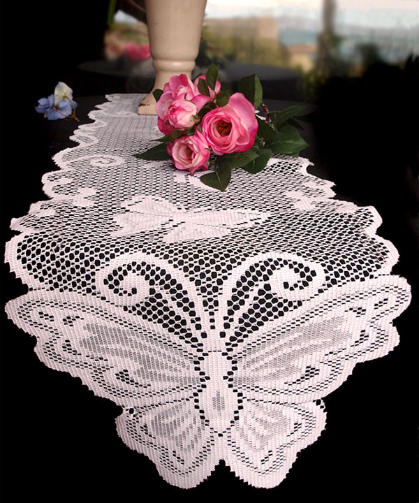 "Lace Table Runner - 13"" x 96"" Butterfly Style"