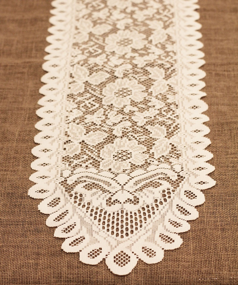 "Ivory Lace Table Runner - 13"" X 76"" Floral style - Click Image to Close"