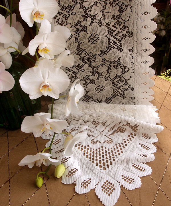 "Ivory Lace Table Runner - 13"" X 96"" Floral style"