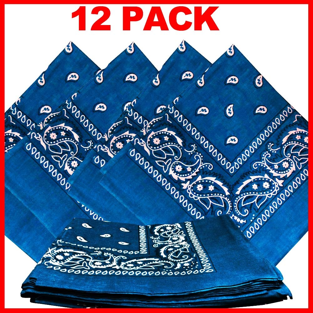 "Paisley Bandana (100% Cotton) - Light Blue 22"" x 22"" 12 Pack"