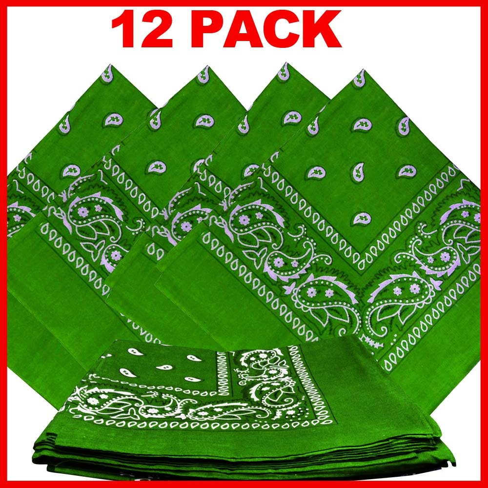 "Paisley Bandana (100% Cotton) -Light Green 22"" x 22"" 12 Pack"