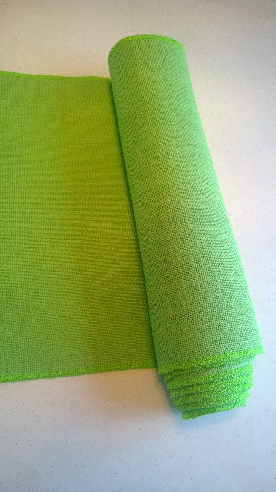 "Lime Burlap Table Runner (Sewn Edges) - 14"" x 90"""
