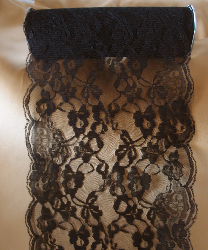 "Black Lace Ribbon - 9"" x 10 Yards"