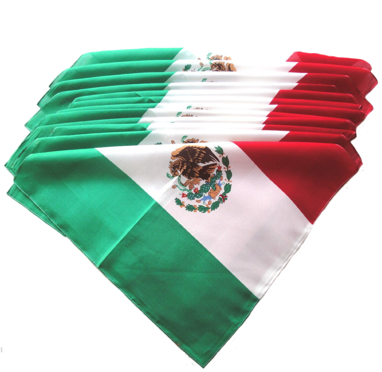 "100% Cotton Mexican Flag Bandanas - 22"" x 22"" Pack of 12"