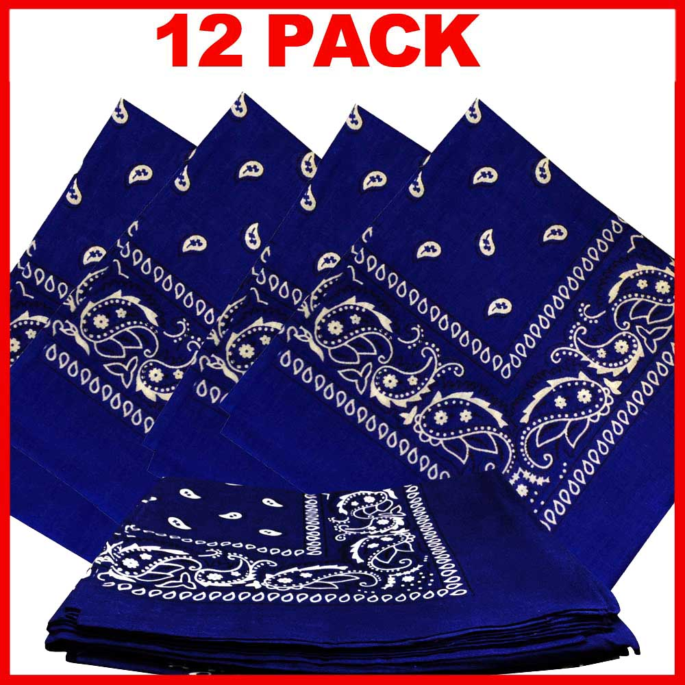 "Paisley Bandana (100% Cotton) - Navy 22"" x 22"" 12 Pack"