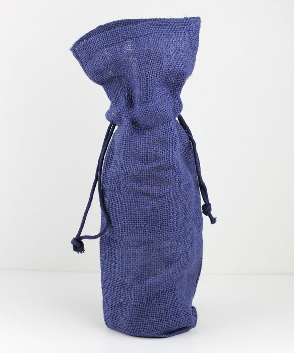 "Burlap Wine Bag W/ Drawstring in Navy- 6"" x 15"" x 3.5"""