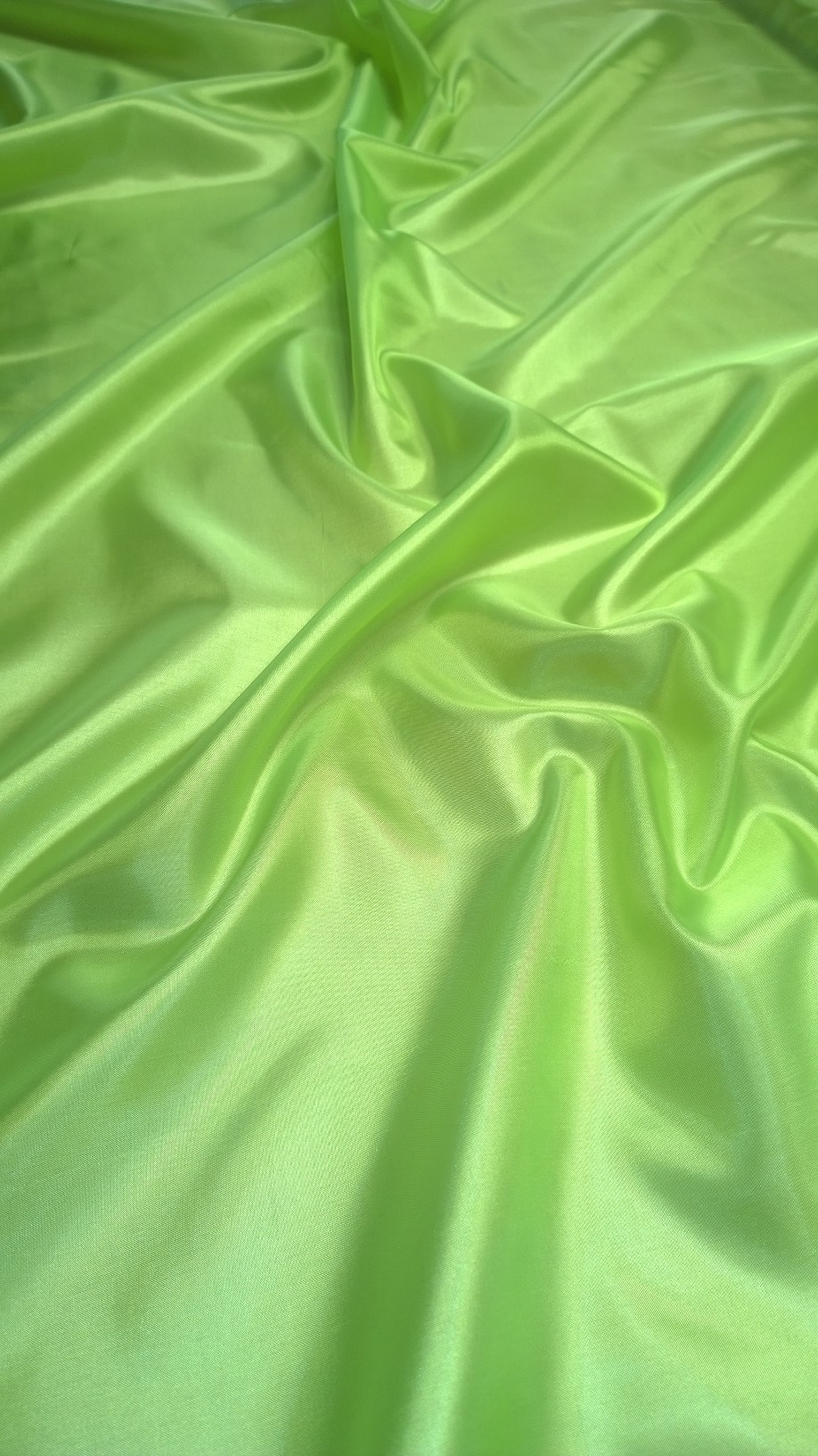 "By The Yard- 60"" Neon Green Habotai Fabric"